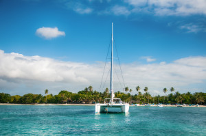 Catamaran on water