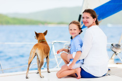 mother and daughter on boat